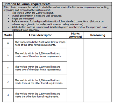 Coursework assessment criteria